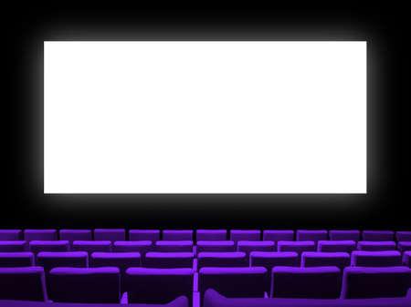 Foto de Cinema movie theatre with purple velvet seats and a blank white screen. Copy space background - Imagen libre de derechos
