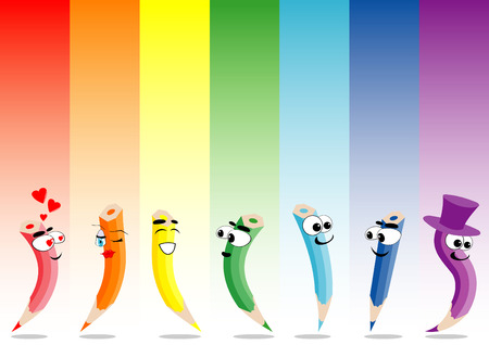 illustration of rainbow and crayons