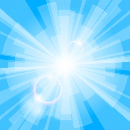 Abstract blue light background with rays