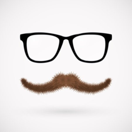 Illustration for Hipster glasses and mustache   - Royalty Free Image
