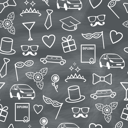 Prom Seamless Texture with Carnival Objects  Vector Chalk Pattern
