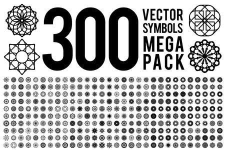 Geometric circular ornament set. Vector isolated symbols