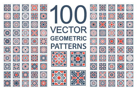 Illustration for Patterns with geometric ornaments. Vector set of arabic seamless textures - Royalty Free Image