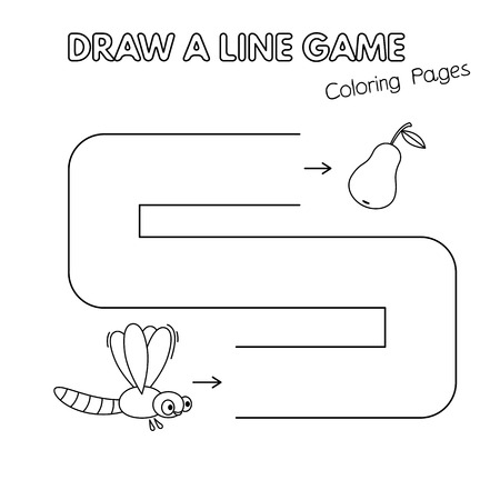 Cartoon dragonfly game for small children - draw a line ...