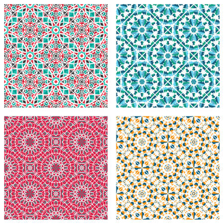 Illustration pour Seamless textures with colorful arabic geometric ornament. Vector asian mosaic patterns set with alternating decorative elements. Abstract design for textile and cloth - image libre de droit