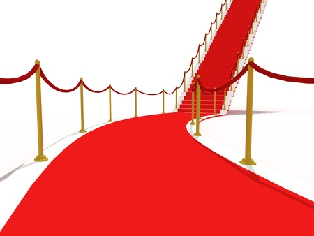 image on the staircase with red carpet, illuminated