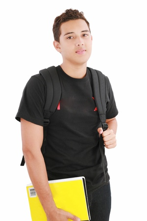 attractive boy student standing with school backpack a over white background