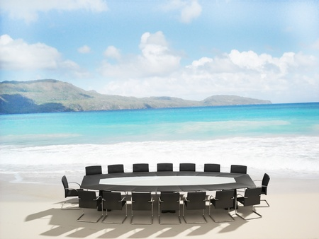 Photo pour 3D rendering of a Meeting table and chairs in the water of a Caribbean beach  - image libre de droit