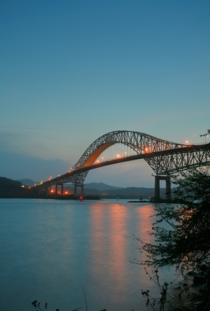Trans American bridge in Panama connected South and North Americas in the sunset