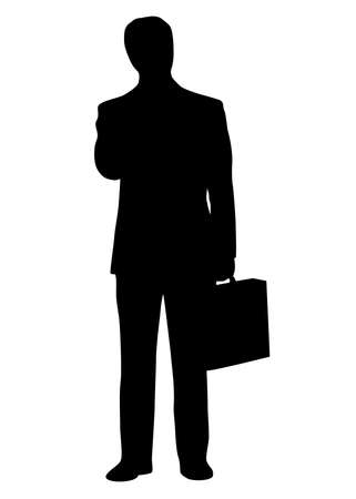 Businessman standing with briefcase in the hand. Black silhouette. Vector illustration.