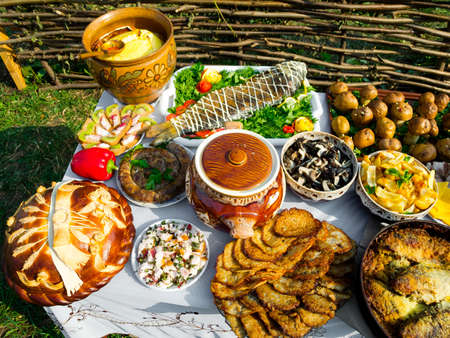 Traditional ukrainian food in assortment in festive decorating