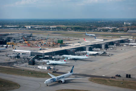 Photo for Heathrow, Great Britain - August 15, 2019: Aerial view of Heathrow international airport at day time - Royalty Free Image