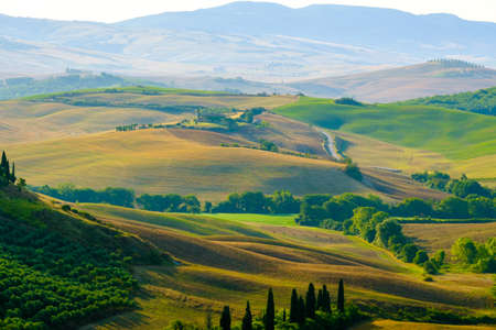 Photo for Late summer aerial landscape of valley in Tuscany, Italy - Royalty Free Image