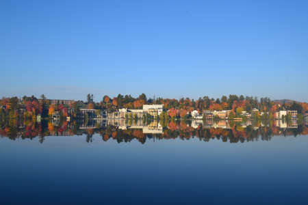 Mirror Lake at Lake Placid with cloudless sky