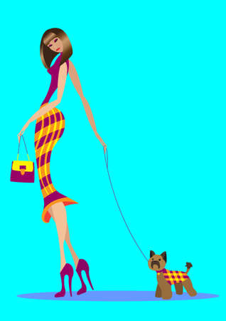 Illustration pour The girl goes with a bag and with the doggie - image libre de droit
