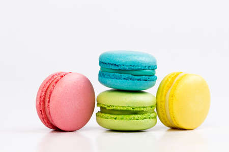 Photo for Sweet and colourful french macaroons or macaron on white background - Royalty Free Image