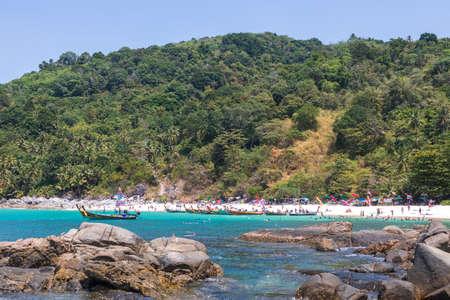 PHUKET, THAILAND, MARCH 03 2020: Vacationing tourists on Freedom Beach