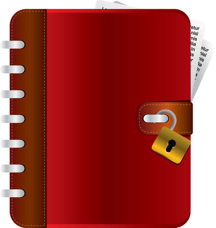 Red diary with an opened lock