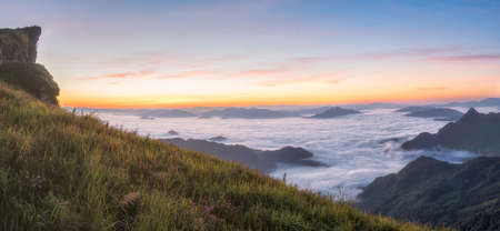 Light morning sun with fog on Phu Chi Fa in Chiang Rai, Thailand.