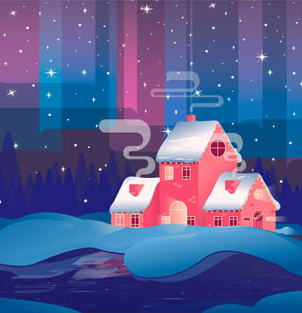 Illustration pour Views of the house in winter.Merry christmas card with house. Happy new year - image libre de droit
