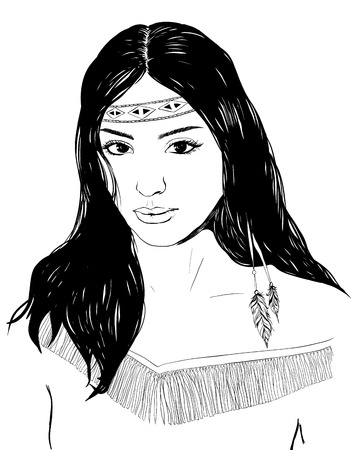 Illustration pour Young american indian woman portrait, hand drawn sketch, cherokee girl with black hair, black white illustration - image libre de droit