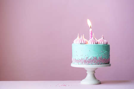 Photo pour Birthday cake with one candle - image libre de droit