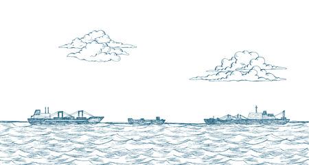 Cargo ships, clouds, sea