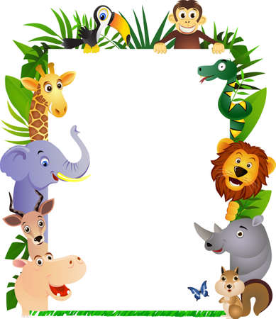 Funny cartoon animal frame