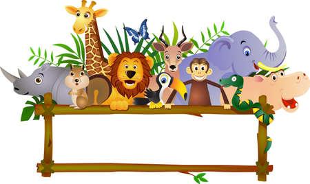 Ilustración de Funny animal cartoon and blank label - Imagen libre de derechos