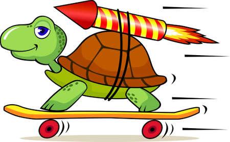 Illustration pour Turtle with rocket to increase speed - image libre de droit