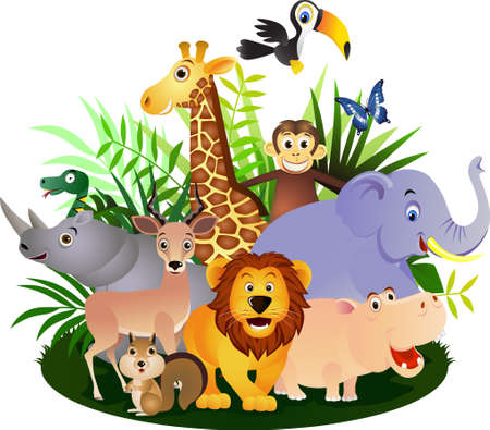 Animal safari cartoonのイラスト素材