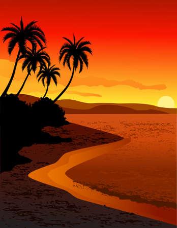 Illustration pour Beautiful tropical beach sunset - image libre de droit