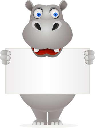 Ilustración de Hippo cartoon and blank sign - Imagen libre de derechos