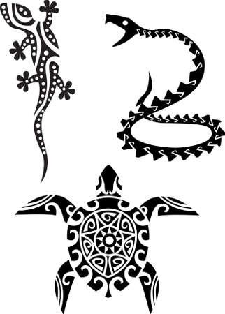 Illustration pour reptile tribal tattoo - image libre de droit
