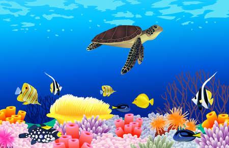 Illustration pour Vector illustration of sea life - image libre de droit
