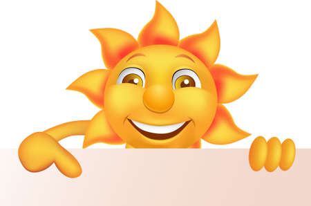 Illustration for Sun cartoon character and blank sign - Royalty Free Image