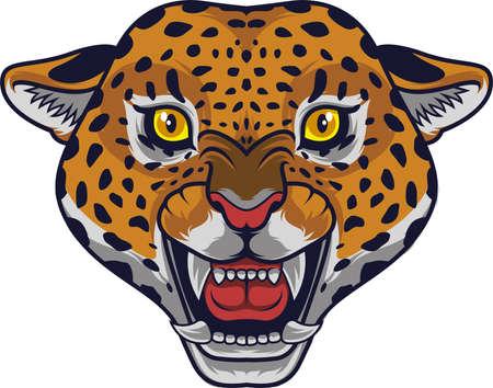 Illustration pour Angry leopard head mascot - image libre de droit