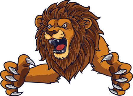 Illustration pour Angry leaping lion - image libre de droit