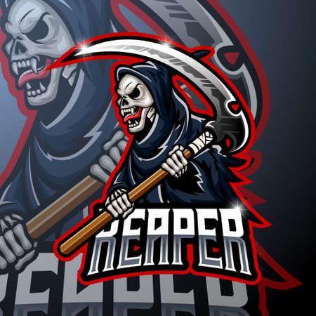 Illustration pour Skull ripper logo mascot design - image libre de droit