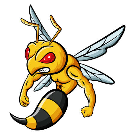 Illustration pour Cartoon strong bee mascot character - image libre de droit