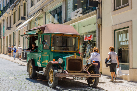 Lisbon, Portugal - May 17, 2017: Sale of CD with traditional Portuguese music Fado in the center of Lisbon, Portugal
