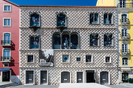 Lisbon, Portugal - May 17, 2017: Casa dos Bicos Historic House from the beginning of the 16th century in the Alfama Neighborhood is now home to the José Saramago Foundation.