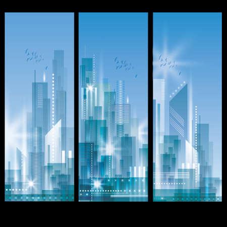 Illustration pour City Landscape banners - image libre de droit