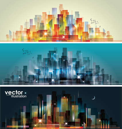 City landscape at daylight, evening and night