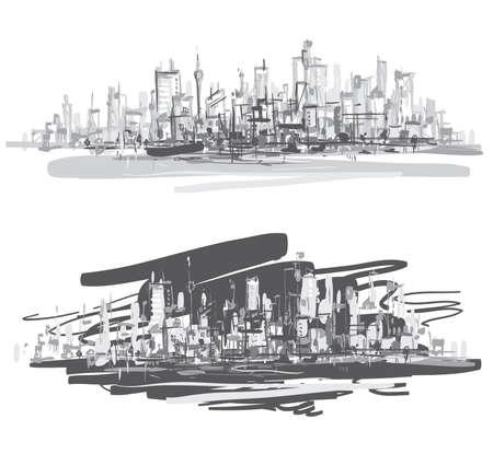 Illustration pour City landscape  Hand-drawn vector illustration   - image libre de droit
