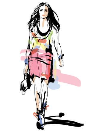 Fashion model  Woman  Sketch  Hand-drawn Vector illustration