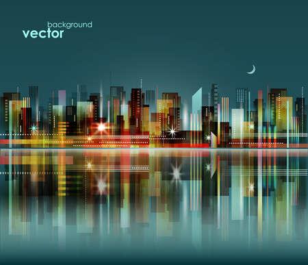 Illustration pour Modern night city skyline, vector cityscape - image libre de droit