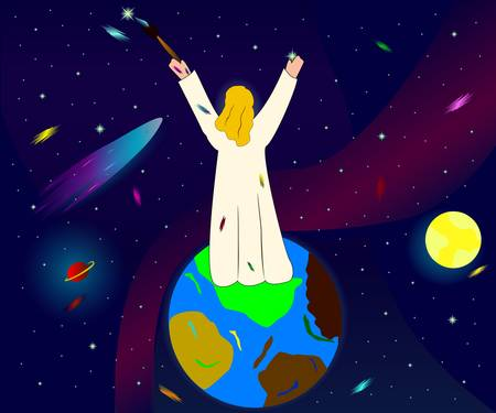 Illustration of God creating space, planets and stars