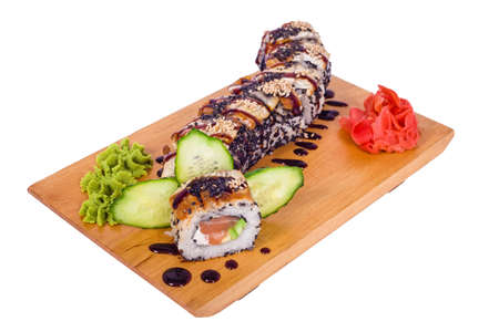 composition of sushi \Dragon\ with avocado