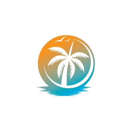 Illustration pour Palm tree summer logo template vector illustration - image libre de droit